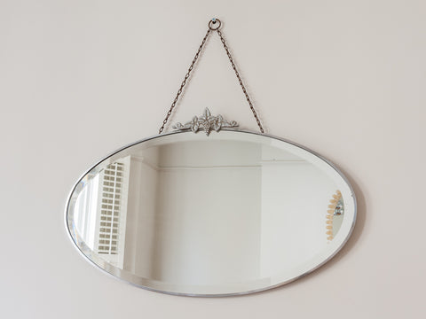 1930s Oval Bevelled Edge Wall Mirror