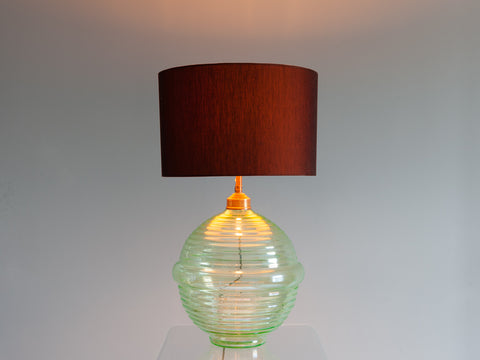 1960's large iridescent green rippled sphere lamp base