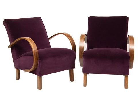 Pair of 1930s Art Deco Redcurrant Armchairs by Jindrich Halabala