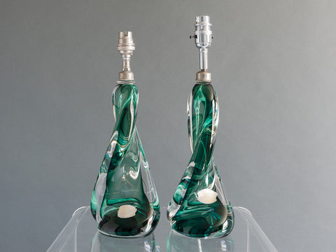 PAIR OF VAL ST LAMBERT GREEN LAMP BASES
