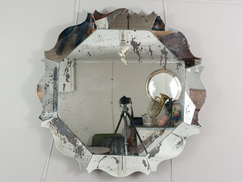 Large Contemporary Hexagonal Scalloped Silvered Foxed Mirror