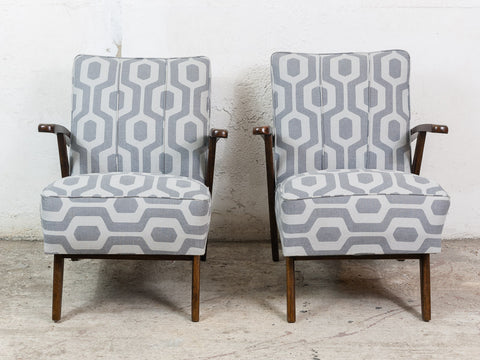 Pair of 1940s Czech Armchairs in Ushak Dove Fabric