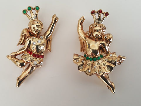 Vintage 1948 Pair of Philippe Trifari Cherub Rhinestone Brooches