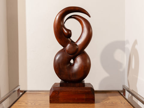 Vintage Abstract Wooden Female Sculpture Signed JyF