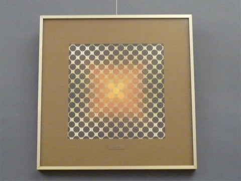 OP ART - VASARELY GOLD SPOT FRAMED PRINT