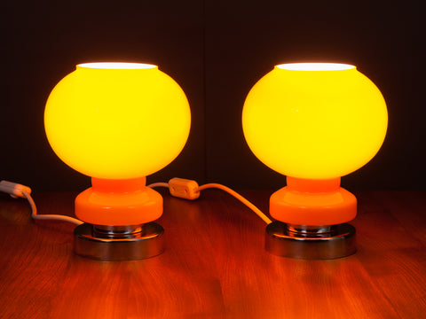 1970s Orange and White Cased Glass and Chrome Atomic Lamps