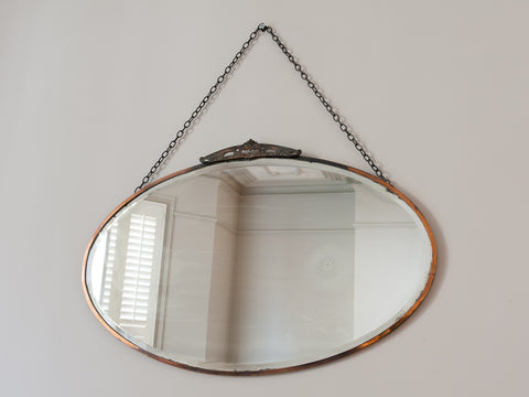 1930s Oval Bevelled Edge Brass Mirror