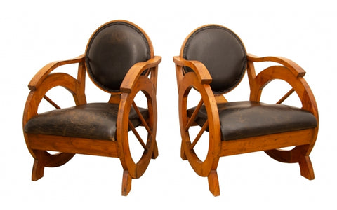 Art Deco Style Leather & Walnut Armchairs