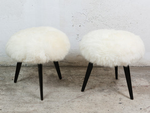 Pair of 1960s Knoll Antimott Tripod Stools in Sheepskin