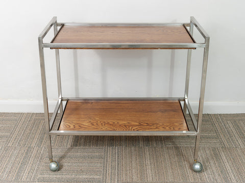Vintage ReWard Institution Supplies Industrial Chrome Drinks Trolley