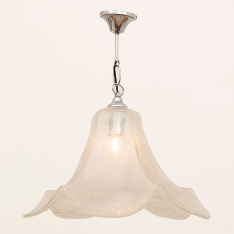 1970s German White Glass & Chrome Pendant Light