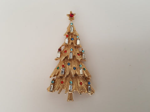 1950s ART Christmas Tree with Rhinestone Candles Brooch