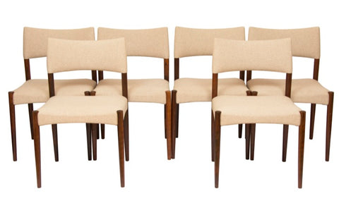 1960's Set of 6 Rosewood Dining Chairs by Aksel Bender Madsen & Ejner Larsen