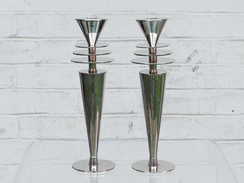 Pair of Vintage Chrome Atomic Art Deco Metropolis Candlesticks