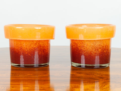 Pair of 1970s Italian Orange and Red Murano Glass Plant Pots