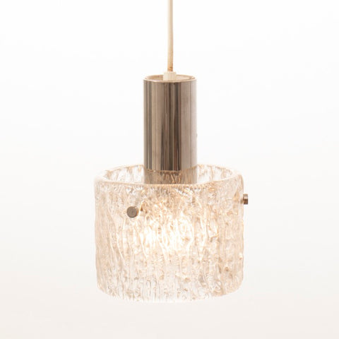 1970s German Kaiser Leuchten Ice Glass Pendant Light