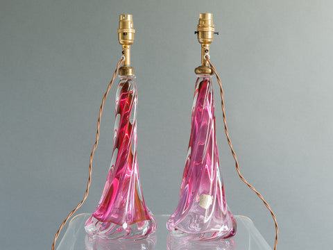 PAIR OF VAL ST. LAMBERT PINK LAMP BASES