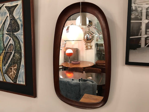 1960's Swedish Dark Teak Atelier G&T Wall Mirror