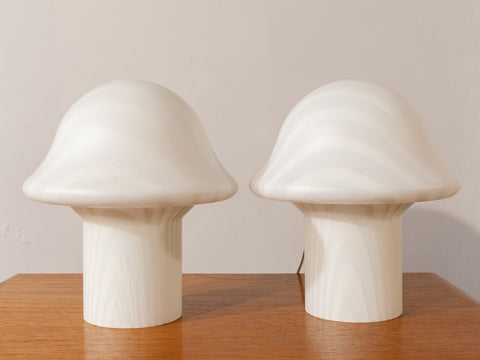 1970's Pair of Small Striped Peill & Putzler Mushroom Table Lamps