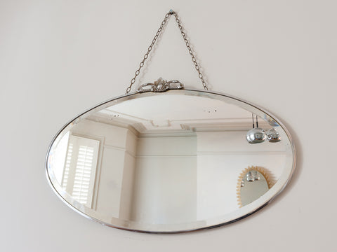 1930'S OVAL ART DECO BEVELLED EDGE WALL MIRROR