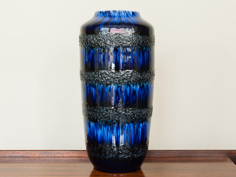 1960's Large West German Blue Mottled Scheurich Floor Vase