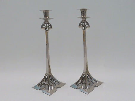 Art Nouveau Nickel Steel Candlesticks