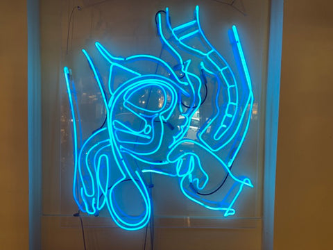 Vintage Large Anthony James Blue Prostate Neon backed on Perspex