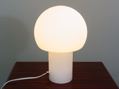 1970's Small White Opaque Lamp