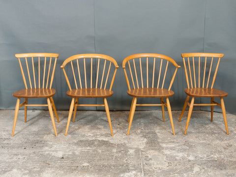 2 x Ercol Cowhorn Armchairs. 2 x Spindle Back Chairs
