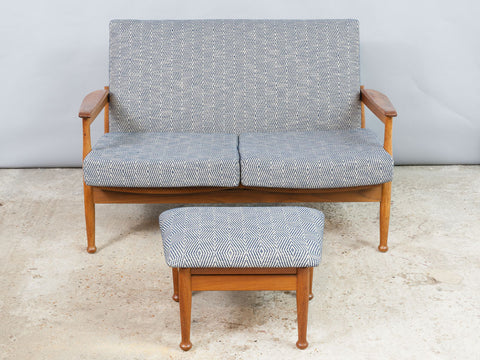 1960s Afromosia Guy Rogers Manhattan 2-Seater Sofa with Footstool