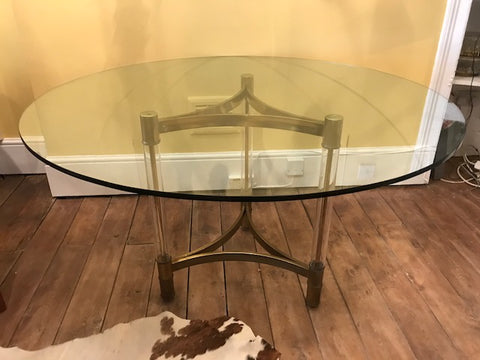 Vintage Brass, Perspex and Glass Table