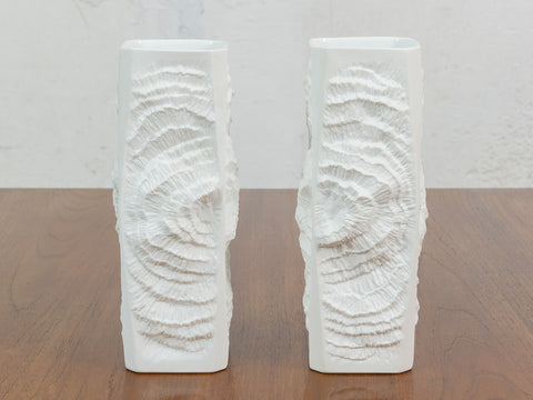 PAIR OF 1960s KAISER FOSSIL MATTE WHITE POTTERY VASES