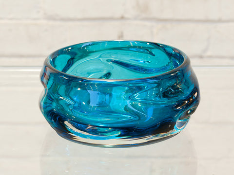 1960s Whitefriars Knobbly Kingfisher Blue Bowl