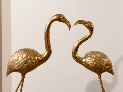 1970's Pair of Hollywood Regency Large French Brass Flamingos