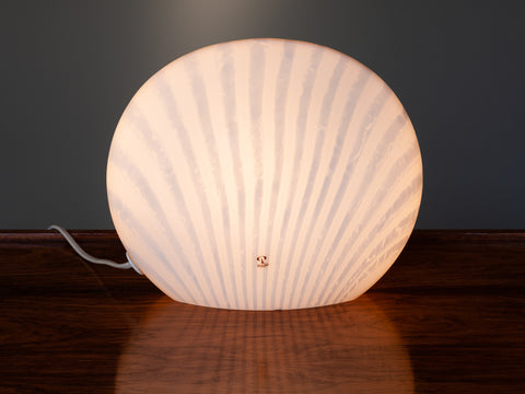 1970's Peill & Putzler White Striped Glass Table Lamp