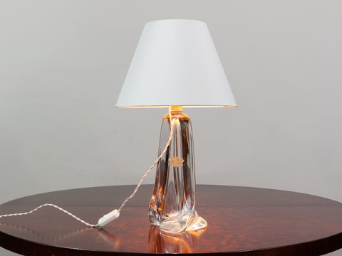 1960s Large Val St Lambert Clear Crystal Lamp Base