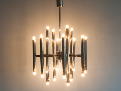 1960'S ITALIAN CHROME PLATED CHANDELIER BY GAETANO SCIOLARI
