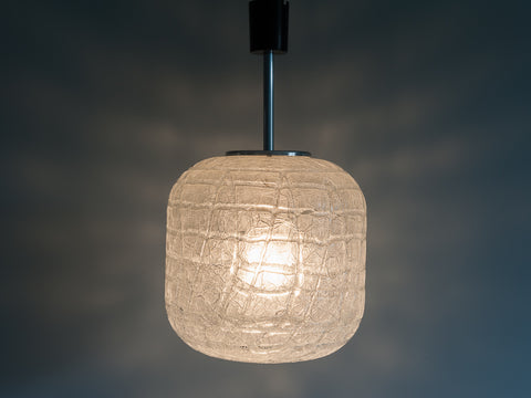 1970s Large Crackle Glass and Chrome Cylindrical Pendant by Doria
