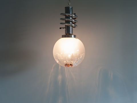 1960s Tinted White and Orange Globe Light by Mazzega