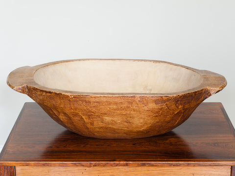 Vintage Small Handmade Wooden Dough Bowl