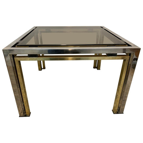 1970s Italian Square Brass and Chrome Coffee Table Willy Rizzo style