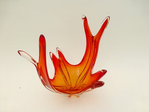 Vintage Red Art Glass Centre Piece