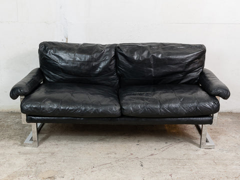 1970s Pieff Mandarin Sofa in Chrome and Black Leather by Ted Bates