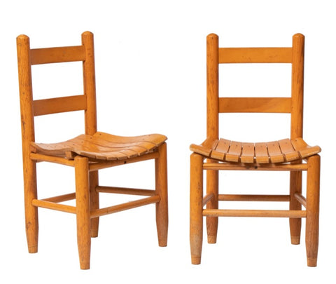 Pair of Vintage Bentwood Teak Slatted Children's Chairs