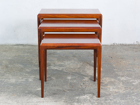1960's Danish Nest of Rosewood Tables by Johannes Andersen