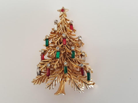Vintage 3D Christmas Tree with Candles Brooch