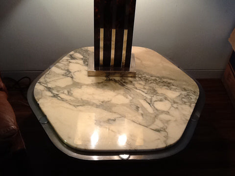 1970's Belgium Chrome and Marble Coffee Table