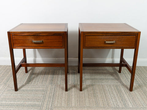 Pair of 1960s Single Drawer Walnut Heal's Bedside Tables