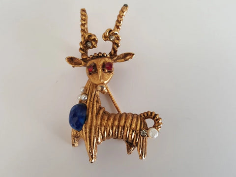 Vintage Blue Stone and Striped Reindeer Brooch
