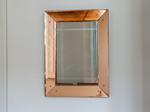 FRENCH BRONZE AND CLEAR GLASS ETCHED MIRROR